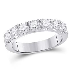 1 CTW Womens Round Diamond Single Row Band Ring 14kt White Gold - REF-136R4X