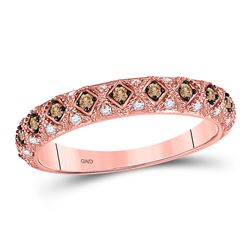 1/3 CTW Womens Round Brown Diamond Anniversary Band Ring 10kt Rose Gold - REF-34A3M