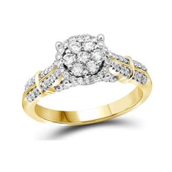 3/4 CTW Round Diamond Flower Cluster Bridal Wedding Engagement Ring 10kt Yellow Gold - REF-68H2R