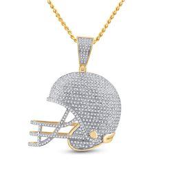 3/4 CTW Mens Round Diamond Football Helmet Charm Pendant 10kt Yellow Gold - REF-84T5V