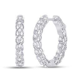 1/2 CTW Womens Round Diamond Hoop Earrings 14kt White Gold - REF-61F4W