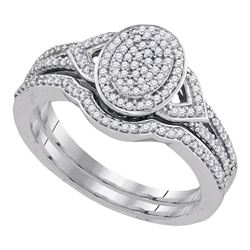 1/3 CTW Round Diamond Bridal Wedding Ring Band Set 10kt White Gold - REF-34W3H