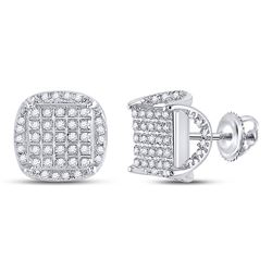 1/3 CTW Mens Round Diamond Square Stud Earrings 10kt White Gold - REF-23F3W