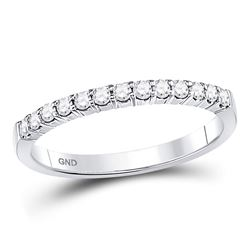 1/4 CTW Womens Round Diamond Machine-set Wedding Band Ring 14kt White Gold - REF-35Y4N