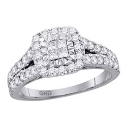 1 CTW Womens Princess Diamond Cluster Ring 14kt White Gold - REF-92N3A