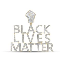 2 & 1/5 CTW Mens Round Diamond Black Lives Matter Charm Pendant 10kt Yellow Gold - REF-204H5R