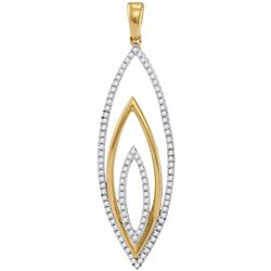 1/3 CTW Womens Round Diamond Oblong Oval Pendant 10kt Yellow Gold - REF-24F5W