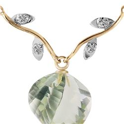 Genuine 13.02 ctw Green Amethyst & Diamond Necklace 14KT Yellow Gold - REF-43W3Y