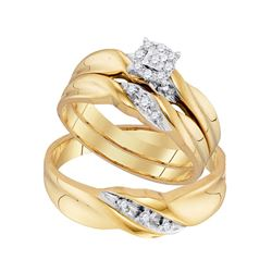1/6 CTW His Hers Round Diamond Solitaire Matching Wedding Set 10kt Yellow Gold - REF-37R5X