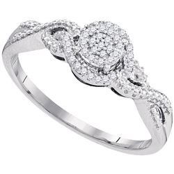 1/10 CTW Womens Round Diamond Cluster Ring 10kt White Gold - REF-20X5T
