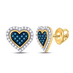 1/4 CTW Womens Round Blue Color Enhanced Diamond Heart Stud Earrings 10kt Yellow Gold - REF-17V6Y