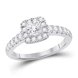 1 CTW Princess Diamond Halo Bridal Wedding Engagement Ring 14kt White Gold - REF-170R5X