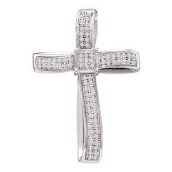 1/4 CTW Womens Round Diamond Roman Cross Religious Pendant 10kt White Gold - REF-24F5W
