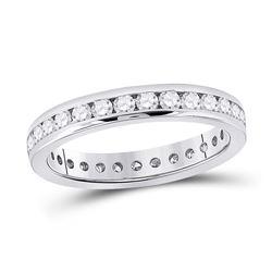 1 CTW Womens Round Diamond Eternity Wedding Band Ring 14kt White Gold - REF-105T7V