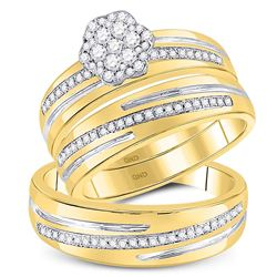 3/8 CTW His Hers Round Diamond Cluster Matching Wedding Set 10kt Yellow Gold - REF-54H5R