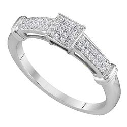 1/6 CTW Womens Round Diamond Square Cluster Ring 10kt White Gold - REF-17A6M
