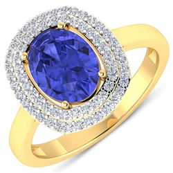 Natural 1.88 CTW Tanzanite & Diamond Ring 14K Yellow Gold - REF-63T9H
