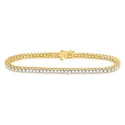 5 CTW Womens Round Diamond Single Row Tennis Bracelet 14kt Yellow Gold - REF-395A4M