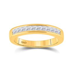 1/2 CTW Womens Princess Diamond Wedding Single Row Band Ring 14kt Yellow Gold - REF-53W3H