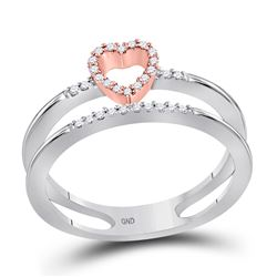 1/10 CTW Womens Round Diamond Split-shank Heart Ring 10kt Two-tone White Gold - REF-15H2R