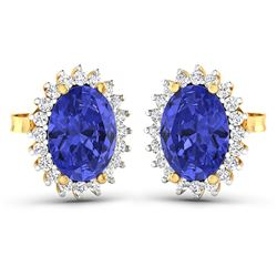 Natural 2.56 CTW Tanzanite & Diamond Earrings 14K Yellow Gold - REF-48H3M