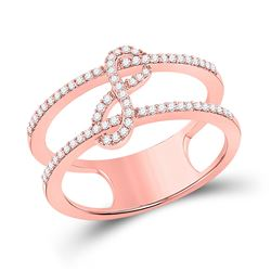 1/5 CTW Womens Round Diamond Negative Space Infinity Ring 10kt Rose Gold - REF-27X3T
