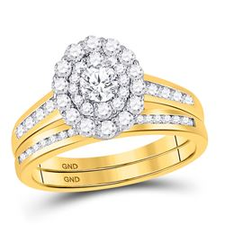 1 CTW Round Diamond Bridal Wedding Ring 14kt Yellow Gold - REF-102R3X