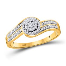 1/5 CTW Womens Round Diamond Swirl Cluster Ring 10kt Yellow Gold - REF-20F5W