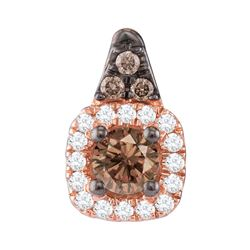 1/4 CTW Womens Round Brown Diamond Halo Solitaire Pendant 14kt Rose Gold - REF-23N3A