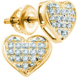 1/10 CTW Womens Round Diamond Heart Cluster Earrings 10kt Yellow Gold - REF-14V4Y