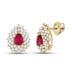 1 & 1/2 CTW Womens Pear Ruby Diamond Cluster Earrings 14kt Yellow Gold - REF-79A2M