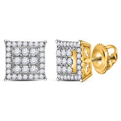 1/4 CTW Womens Round Diamond Square Cluster Earrings 14kt Yellow Gold - REF-31N4A