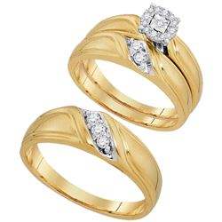 1/4 CTW His Hers Round Diamond Solitaire Matching Wedding Set 10kt Yellow Gold - REF-61T4V