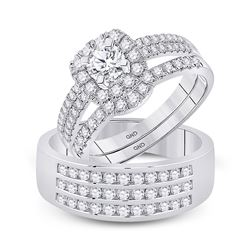 1 & 3/4 CTW His Hers Round Diamond Solitaire Matching Wedding Set 14kt White Gold - REF-211V4Y