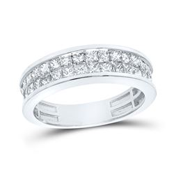 1 & 1/4 CTW Womens Princess Diamond Band Ring 14kt White Gold - REF-105H5R