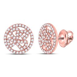 1/2 CTW Womens Round Diamond Heart Circle Earrings 10kt Rose Gold - REF-31X4T