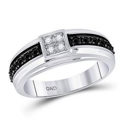 1/2 CTW Mens Black Color Enhanced Diamond Wedding Anniversary Band Ring 10k White Gold - REF-49M6F
