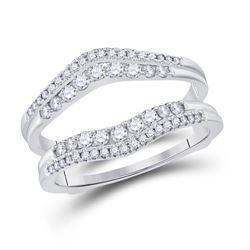 1/2 CTW Womens Round Diamond Wrap Ring 14kt White Gold - REF-75F7W