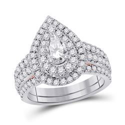 2 CTW Pear Diamond Bridal Wedding Ring 14kt Two-tone Gold - REF-272R6X