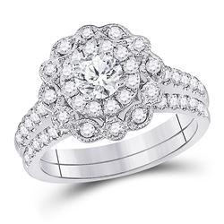 1 & 1/4 CTW Round Diamond Bridal Wedding Ring 14kt White Gold - REF-214N8A