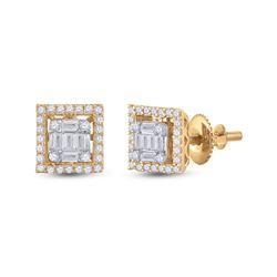 3/8 CTW Womens Baguette Diamond Square Earrings 14kt Yellow Gold - REF-47M6F