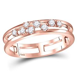 1/5 CTW Womens Round Diamond Split Band Ring 10kt Rose Gold - REF-27X3T