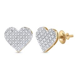 1/5 CTW Womens Round Diamond Heart Earrings 10kt Yellow Gold - REF-17A6M