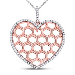 1/5 CTW Womens Round Diamond Honeycomb Heart Pendant 10kt Two-tone Gold - REF-19M2F