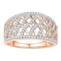 1/2 CTW Womens Round Diamond Lattice Fashion Ring 10kt Rose Gold - REF-38M2F