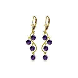 Genuine 4.95 ctw Amethyst Earrings 14KT Yellow Gold - REF-53P8H