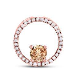 1/3 CTW Womens Round Morganite Diamond Circle Pendant 10kt Rose Gold - REF-17W3H