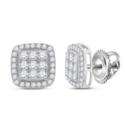 1 CTW Womens Round Diamond Square Earrings 10kt White Gold - REF-66W7H