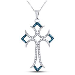 1/4 CTW Womens Round Blue Color Enhanced Diamond Flared Cross Pendant 10kt White Gold - REF-17R6X
