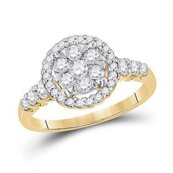 3/4 CTW Womens Round Diamond Cluster Ring 10kt Yellow Gold - REF-68H2R
